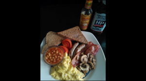 Full English breakfast with scrambled eggs